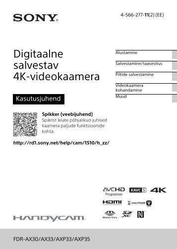 Sony FDR-AXP33 - FDR-AXP33 Consignes d'utilisation Estonien