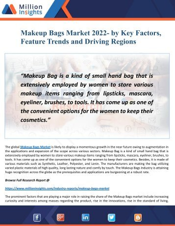 Makeup Bags Market 2022- Outlook, Drivers and Opportunities Analysis