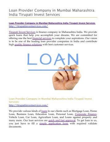 Loan Provider Company in Mumbai Maharashtra India Tirupati Invest Services