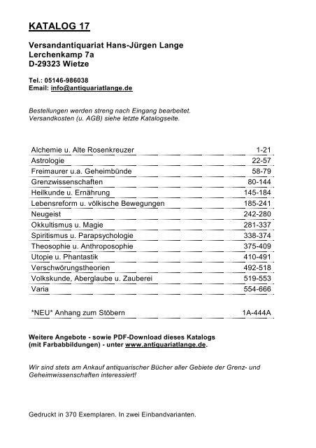 Occulta-Antiquariats-Katalog 17