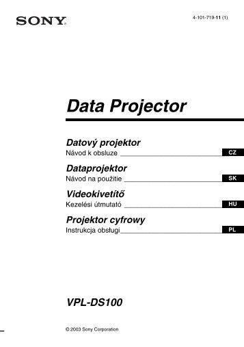 Sony VPL-DS100 - VPL-DS100 Consignes d'utilisation Slovaque