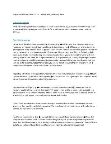 Bogus web hosting testimonials. The best way to identify them6