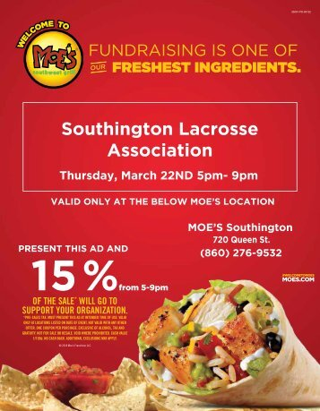 Southington Lacrosse Association Moe's Fundraiser