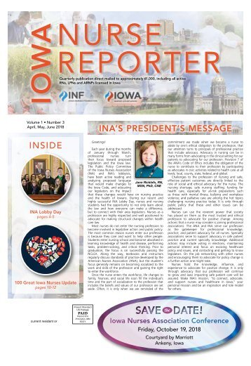 Iowa Nurse Reporter - April 2018