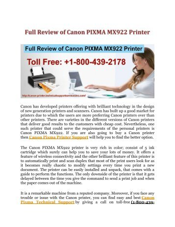 Full Review of Canon PIXMA MX922 Printer