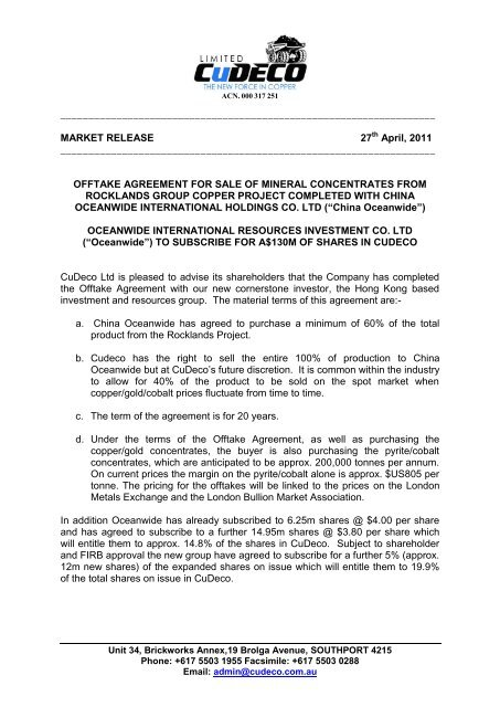 Offtake Agreement For Sale Of Mineral Concentrates Cudeco