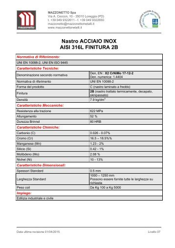 Nastro Acciaio Inox AISI 316L Finitura 2B