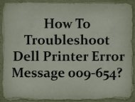 How To Troubleshoot Dell Printer Error Message 009-654?