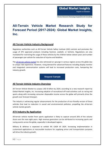All-Terrain Vehicle Market – Growth Opportunities and Challenges 2017-2024