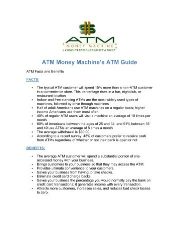 ATM Money Machine's Guide - Facts and Benefits