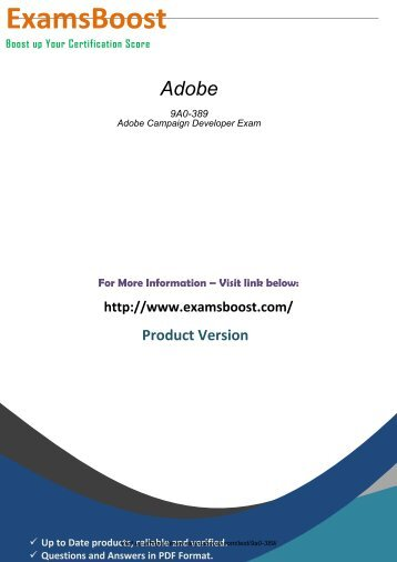 Adobe 9A0-389 Updated Dumps - Download Exam Questions
