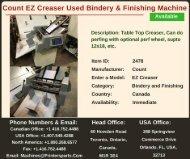 Buy Used Count EZ Creaser Bindery and Finishing Machine