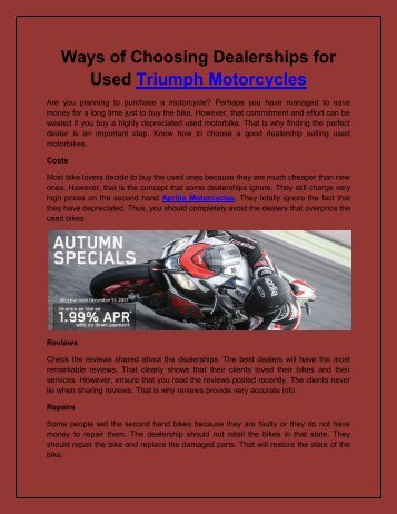 Ways of Choosing Dealerships for Used Triumph Motorcycles