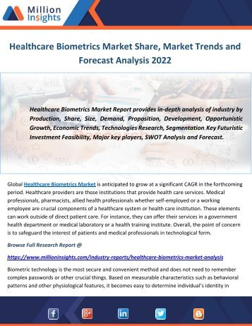 Healthcare Biometrics Market Share, Market Trends and Forecast Analysis 2022