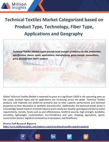 Technical Textiles Market Categorized based on Product Type, Technology, Fiber Type, Applications and Geography