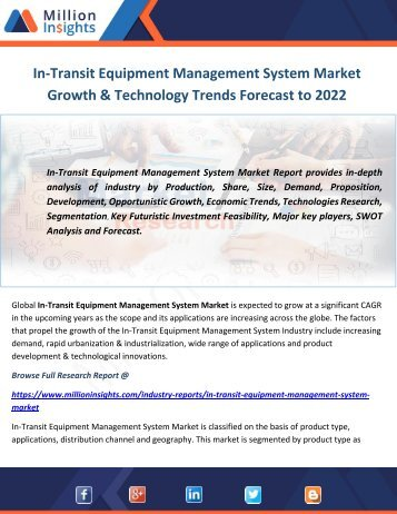 In-Transit Equipment Management System Market Growth & Technology Trends Forecast to 2022