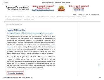 Hospital CIO Mailing List - Top Healthcare Leads