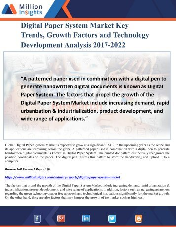 Digital Paper System Market Key Trends, Growth Factors and Technology Development Analysis 2017-2022