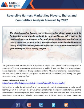 Reversible Harness Market Key Players, Shares and Competitive Analysis Forecast by 2022