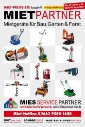 MIES SERVICE PARTER - Miet-Preisliste Ausgabe 8