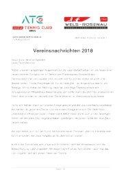 Vereinsnachricht 2018