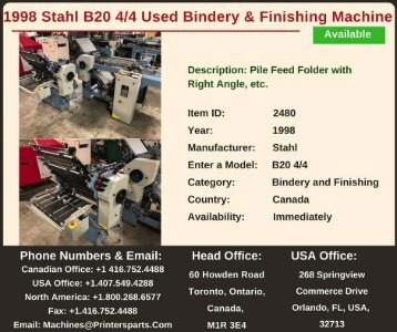Buy Used 1998 Stahl B20 4/4 Bindery and Finishing Machine