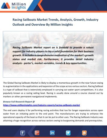 Racing Sailboats Market Trends, Analysis, Growth, Industry Outlook and Overview By Million Insights