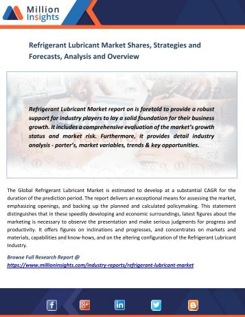 Refrigerant Lubricant Market Shares, Strategies and Forecasts, Analysis and Overview