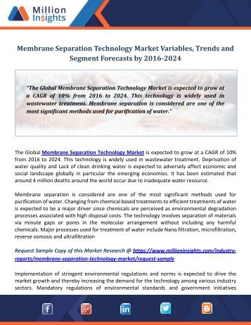 Membrane Separation Technology Market Variables, Trends and Segment Forecasts by 2016-2024