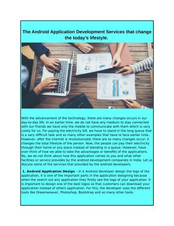 The Android Application Development Services that change the today's lifestyle