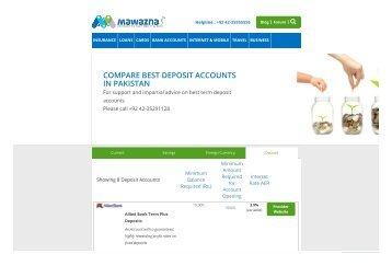 Compare Best Deposit Accounts in Pakistan