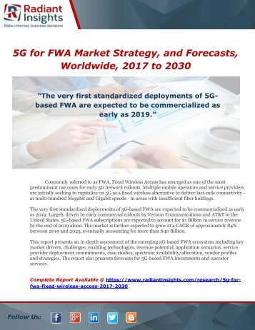 5G for FWA (Fixed Wireless Access) Market Strategy, and Forecasts, Worldwide, 2017 to 2030