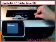How to Fix HP Printer Error E1