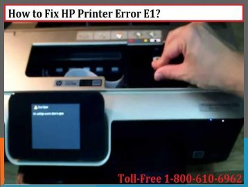 How to Fix HP Printer Error E1