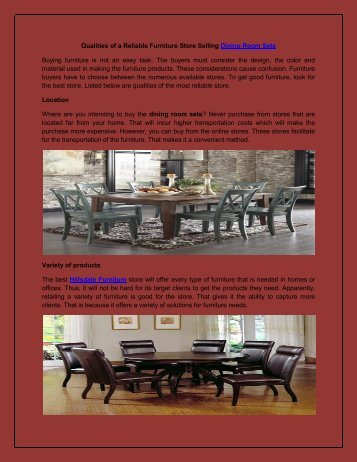 Qualities of a Reliable Furniture Store Selling Dining Room Sets
