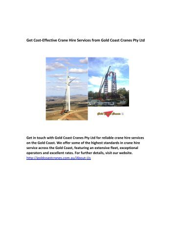 Get Cost-Effective Crane Hire Services from Gold Coast Cranes Pty Ltd