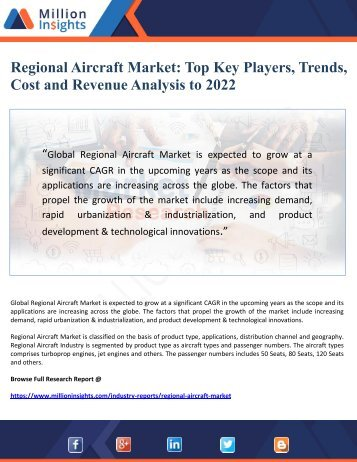 Regional Aircraft Market- Top Key Players, Trends, Cost and Revenue Analysis to 2022