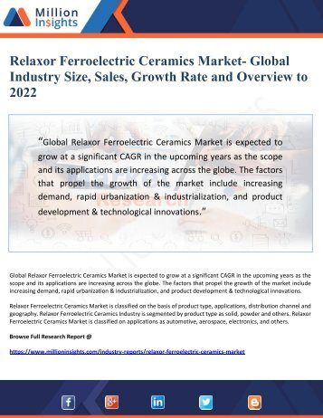 Relaxor Ferroelectric Ceramics Market- Global Industry Size, Sales, Growth Rate and Overview to  2022