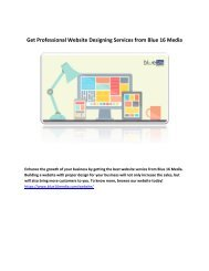 Get Professional Website Designing Services from Blue 16 Media