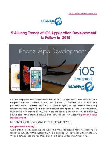 5 Alluring Trends of iOS Application Development to Follow in 2018