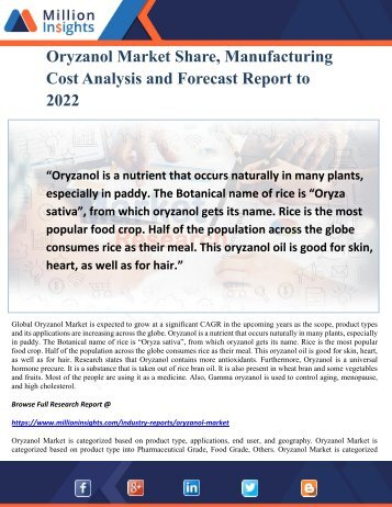 Oryzanol Market Share, Manufacturing Cost Analysis and Forecast Report to 2022