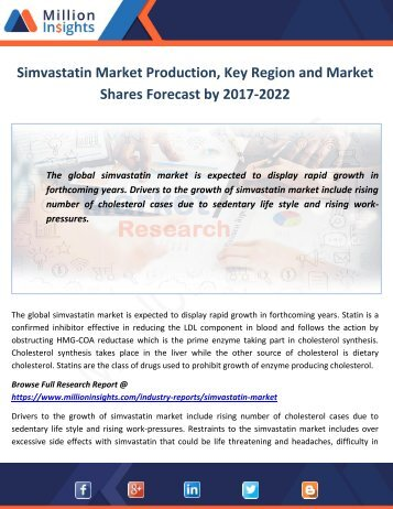 Simvastatin Market Production, Key Region and Market Shares Forecast by 2017-2022
