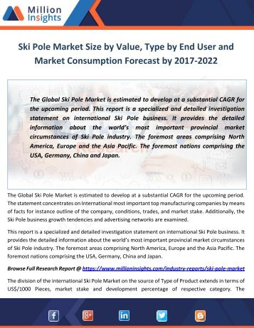 Ski Pole Market Size by Value, Type by End User and Market Consumption Forecast by 2017-2022