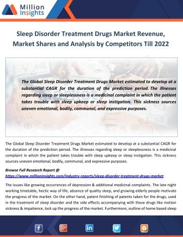 Sleep Disorder Treatment Drugs Market Revenue, Shares and Analysis by Competitors Till 2022