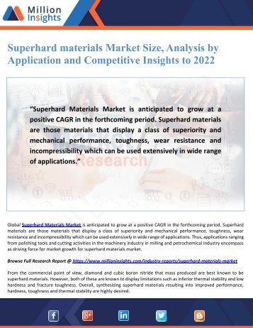 Superhard materials Market Size, Analysis by Application and Competitive Insights to 2022