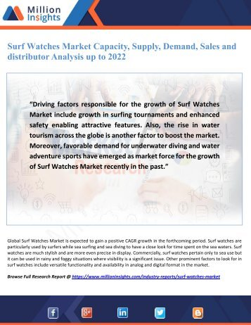 Surf Watches Market Capacity, Supply, Demand, Sales and distributor Analysis up to 2022