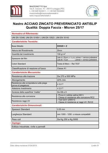 Nastro Acciaio Zincato Antislip Preverniciato. Qualità: Doppia Faccia - Micron 25/17