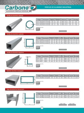 140 free magazines from empresas carbone for Perfiles de aluminio catalogo