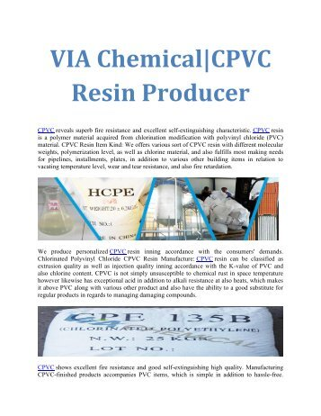 Chlorinated Polyvinyl Chloride CPVC Resin Manufacture