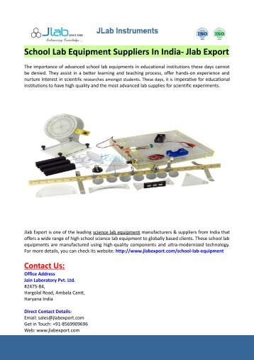School Lab Equipment Suppliers In India- Jlab Export